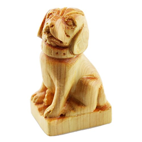 (FOY-MALL Mini Hand Pieces Thuja Sutchuenensis Wood Carved Chinese Zodiac Statue Dog)