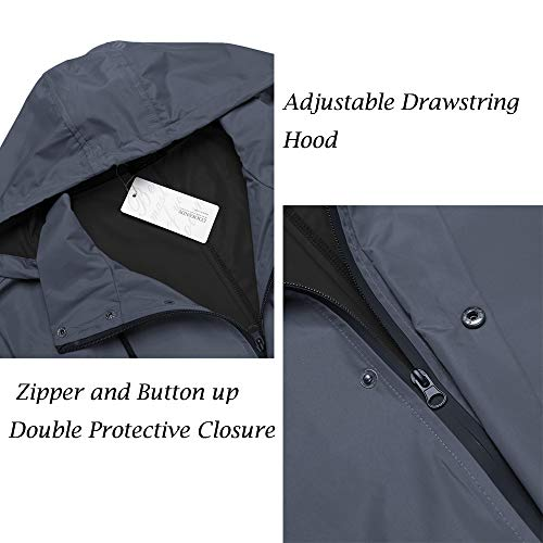 COOFANDY Men's Waterproof Rain Jacket with Hood Lightweight Packable Outdoor Long Raincoat