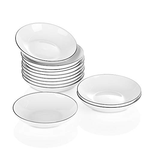 YOLIFE Ceramic Side Sauce Dish Sushi Dipping Bowl for Tomato Soy BBQ Snack Sauce and Party Dinner 4 Inch,2.5 Ounce, 12-Pack