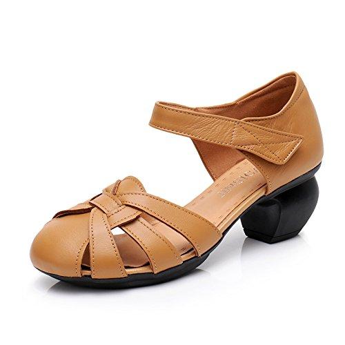 Tacones Sandalias Zapatos De Zapatos Verano Cuero Los yellow Mamá Mujer Retro Estilo Mujeres Suave Nacional Las Fondo Tacones De Medio De GTVERNH Bruto Baotou 6RZqX