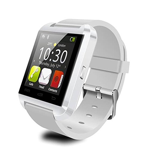 TOPCHANCES Bluetooth Smart Watch WristWatch for iOS Android OS Smartphones iPhone 5/5s/6/6s Plus Samsung S6/S4/S3/Note 5 Huawei Xiaomi (U8 White)