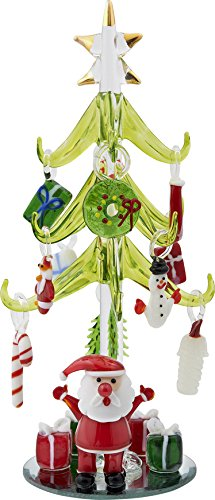 Glass Santa Christmas Tree - LSArts Christmas Glass Tree - Green - Santa - 8