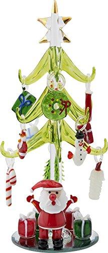 LSArts Christmas Glass Tree - Green - Santa - 8