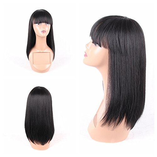 HAIR WAY Straight Wigs with 20% Human Hair and 80% Premium Japanese Fiber Like Real Human Hair Wig for Black Women Synthetic Wigs Straight Hair with Bangs for Daily Wear 14inches #1B
