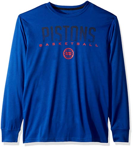 NBA Detroit Pistons Men's T-Shirt Athletic Quick Dry Long Sleeve Tee Shirt, XX-Large, Royal (Mens Shirt Athletic)