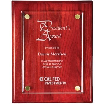 (QuickTrophy Acrylic Plaque - 9x12 Piano Rosewood Finish)