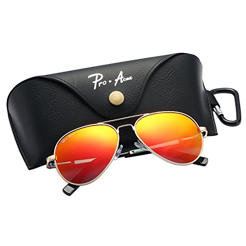 Pro Acme Small Polarized Aviator Sunglasses for Kids and Youth Age 5-18 (Gold Frame/Red Mirrored Lens) (Aviators Mirrored Red)