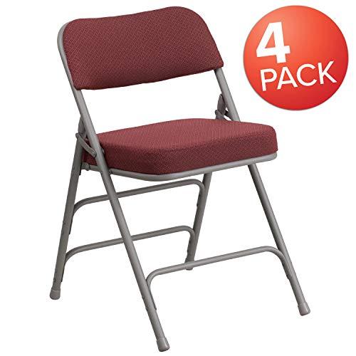 (Flash Furniture 4 Pk. HERCULES Series Premium Curved Triple Braced & Double Hinged Burgundy Fabric Metal Folding Chair)
