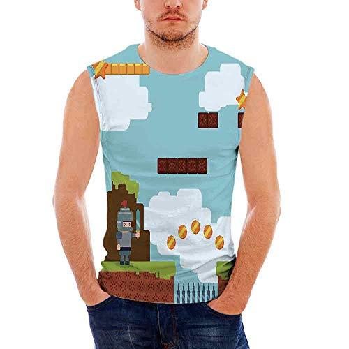- Mens Sleeveless Video Games T- Shirt,Arcade World Kids 90s Fun Theme Knight with