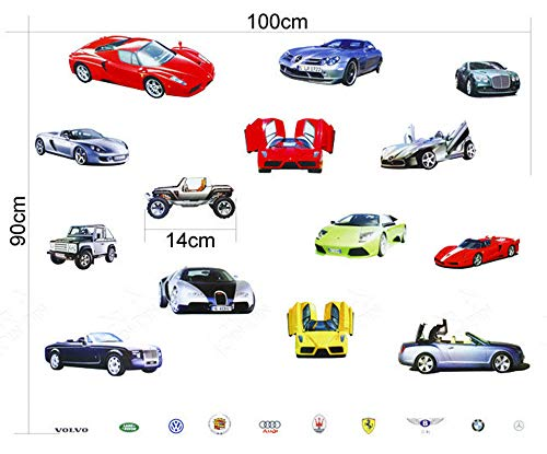 Wall Sticker Decal 14 Sports and Luxury Car Series Kids Bedroom and Kindergarten Mural Home Decor DIY Plastic Self Adhesive Removable ()