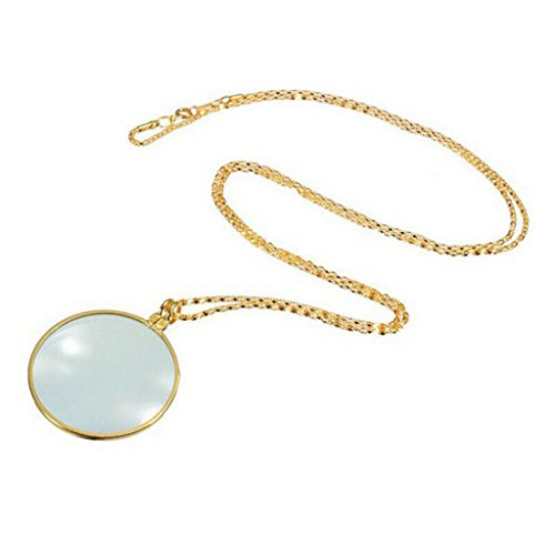 Quaanti Utility Monocle Lens Necklace With 6x Magnifier Coin Magnifying Glass Pendant (Gold)
