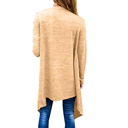 Open larga ZFFde Outwear manga Yellow Irregular Mujeres Hem Cardigan S Loose Invierno Knit Front Color Coat tamaño wpCwqS8