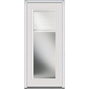 """National Door Company ZA20353R Fiberglass Internal Mini Blinds Clear LowE Impact Glass Full Lite Smooth Severe Weather Right Hand Out-Swing Entry Door, 32"""" x 80"""""""