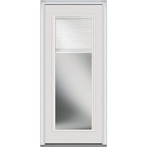 National Door Company ZFS686BLFS28L Fiberglass Smooth, Primed, Left Hand Inswing, Exterior Prehung Door, Clear Glass Internal Blinds, Full Lite, 32
