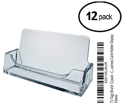 12 - Clear Plastic Business Card Holder Display Desktop Countertop Clear Lake Enterprises Inc. C-H (Lot of 12)