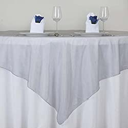 """Tableclothsfactory Silver Organza Table Overlay 72x72"""" (Table Toppers)--PACK OF 5"""