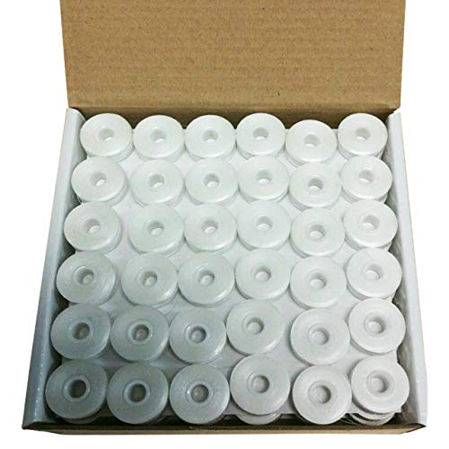 Galapagoz Pre Wound Polyester Size L White Embroidery bobbins for Brother 144 per Box 156 Yard USA