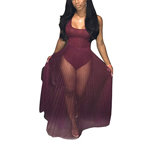Metup Women Sexy Sleeveless Pleated Party Cocktail Sheer Mesh Maxi Dress Clubwear Red (Mesh Maxi)