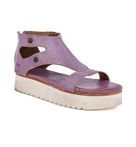 (Bed|Stu Women's Soni Leather Sandal (6 M US, Lilac Rustic Silver Metallic))