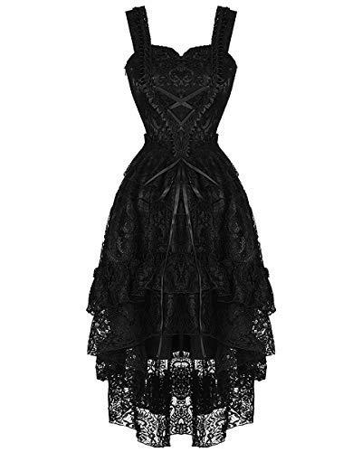 Nero Vintage In Vittoriano Gothic Love Formale Steampunk Sera Dark Ballo Pizzo Da Vestito 06T6qn1