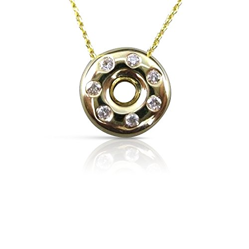 Milano Jewelers DIAMOND ETOILE 14KT GOLD ROUND FLOATING DOUGHNUT LIFE SAVER PENDANT #1268