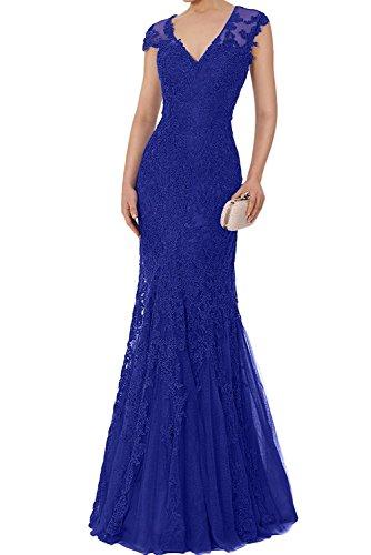 V Blau Partykleider Etuikleider Ballkleider Cocktailkleider Spitze Marie Abendkleider Royal Ausschnitt La Braut Kurzarm 8FqB7nI