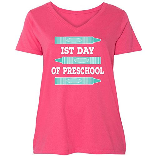 inktastic - 1st Day of Preschool Ladies Curvy V-Neck Tee 1 (14/16) Pink 30da2 ()