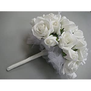 WHITE Half Open Roses & Buds with Pearls Bouquet Artificial Foam Flower Bush 012-WT 101