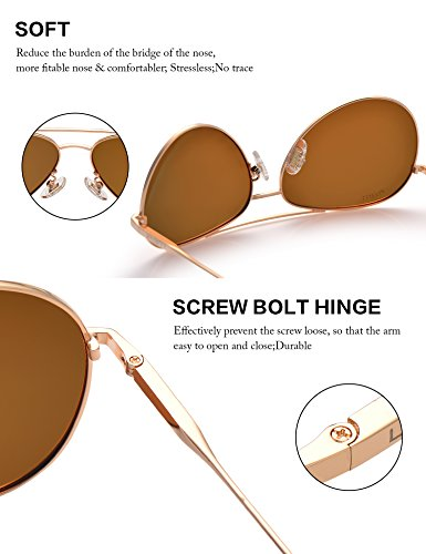 LUENX Men Women Aviator Sunglasses Polarized Brown Lens Metal Frame UV 400 59MM Driving Fashion with Accessories by LUENX (Image #2)