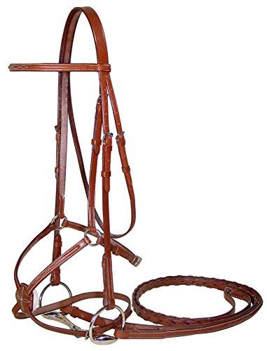 Paris Tack Fancy Stitch Figure 8 Horse Bridle & Laced Reins - Chestnut ()