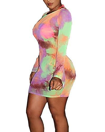 Salimdy Women's See Through Sexy Evening Tie Dye Print Sheer Mesh Dress Party Bikini Cover up Mini Club Dress Purple - Mini Print Bikini