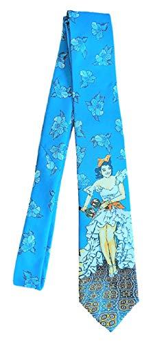(Boca Classics Cuban Salsa Dancer Maracas Themed Tie With Hibiscus Flowers Teal Blue Multi)