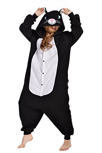 Newcosplay Unisex Adult Cosplay Pyjamas Cat Halloween Onesie Cartoon(M, Black cat) -