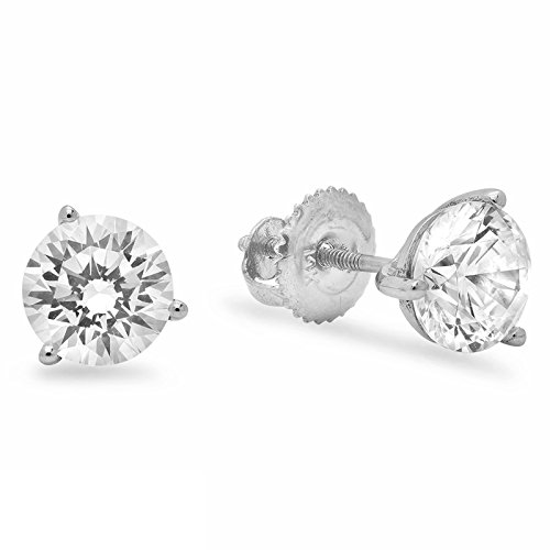 1.50 ct Brilliant Round Cut Solitaire Highest Quality Moissanite Anniversary gift 3-prong Stud Martini Earrings Real Solid 14k White Gold Screw - 3 Martini Prong Studs