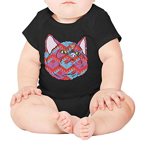 (Cat-Super Pizza cat Baby Onesies Black Clothing Short Sleeve Cotton)