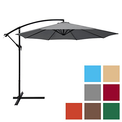 Aluminum Tilt Offset Umbrella - Best Choice Products 10ft Offset Hanging Market Patio Umbrella w/Easy Tilt Adjustment, Polyester Shade, 8 Ribs for Backyard, Poolside, Lawn and Garden - Gray