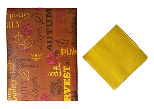 Autumn Thanksgiving Words Tabletop Bundle- 2 Items: Coordinated Vinyl Flannel Backed Tablecloth and Golden Napkins (52