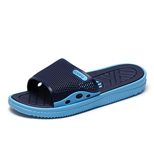 NEW Men Slippers Indoor Menbath Slippers Summer Outdoor Slippers Navy Blue 8 by BEACHR