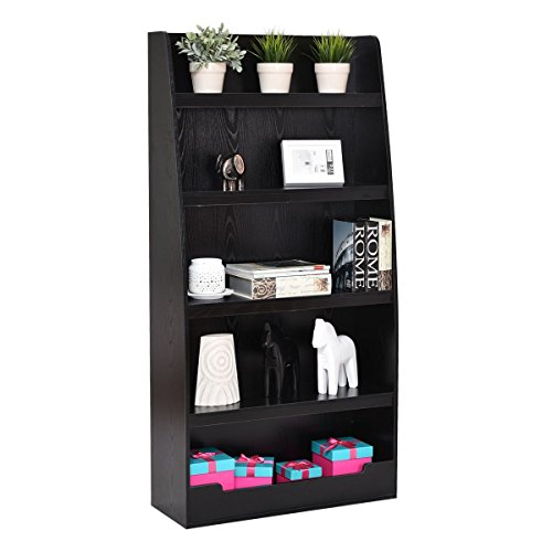 Premium Bookcase Wooden Furniture Multi 5-Tier Storage Shelf for Books, Display and Media Items, Classic Black - Maple Office Media Storage