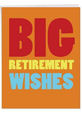 Extra Large Retirement Card with Envelope (Letterhead 8.5 x 11 Inch) - 'Big Retirement Wishes' & Congratulations Greeting Card - Appreciation & Farewell Card for Boss, Employee, Coworker J2734RTG