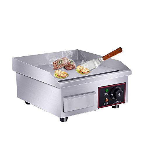 "PROMOTOR 14"" 1500W Food Commercial Electric Countertop Griddle Flat Top Restaurant Grill BBQ Adjustable Temp Control Grill"