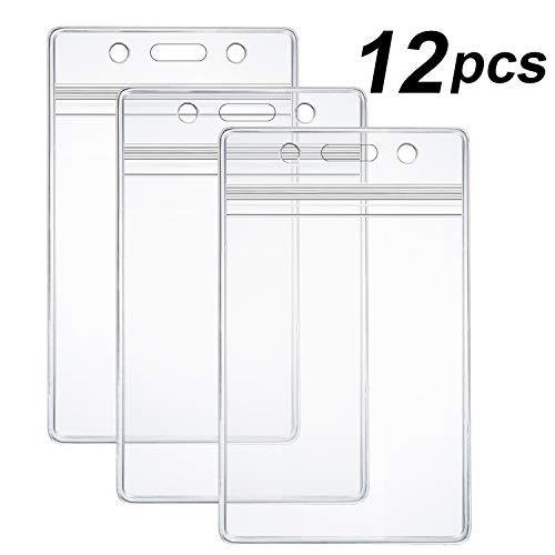 12 Pcs Extra Thick ID Card Badge Holder, Vertical Clear PVC Card Holder with Waterproof Resealable Zip Type