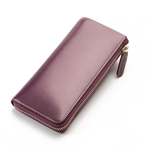 Women's Leather Wallet - Ladies Mini Purse–Zip Around – Includes Clutch for Phone-Wallet with Wristlet Card Holder (Purple) by AteAte