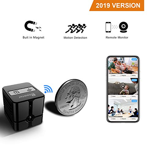 Spy Camera WiFi, Ehomful Mini Wireless Hidden Camera Real 1080P, Auto Night Vision Monochrome Covert,Built-in Magnet,No Lags & No Frozen Streaming,Works with Multiple Viewers