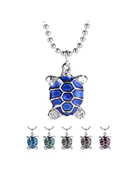 Rinhoo White Gold Plated Cute Turtle & Owl & Starfish Heart Shaped Color Change Mood Pendant Necklace Women Girls Emotion Jewelry