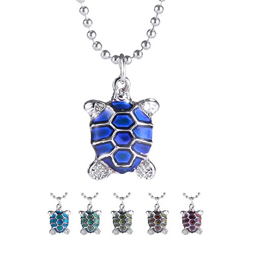 Rinhoo Cute Turtle Mood Color Change Pendant Necklace White Gold - Gold White Turtle