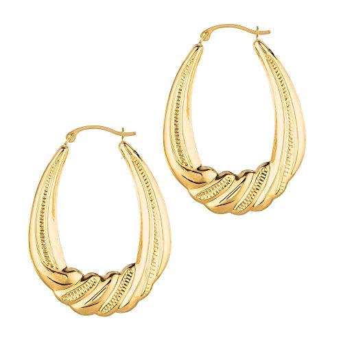 14k Yellow Gold Textured Shiny Graduated Oval Shape Ridge Symbolic Hoop Earrings Hinged Clasp