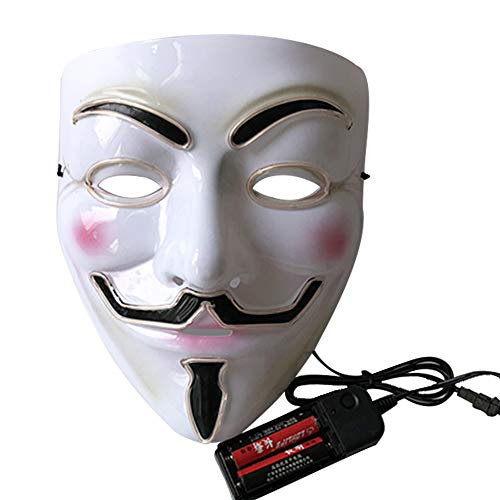 LED Halloween Mask - V for Vendetta Light Up Mask Scary Face Masks for Festival Cosplay Christmas Parties 9 -