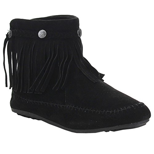 Nature Breeze Cherokee-01 Fringe Moccasin Bootie* Zip Stud Flat Indian Ankle Boot BLACK - Indian Boots Ankle