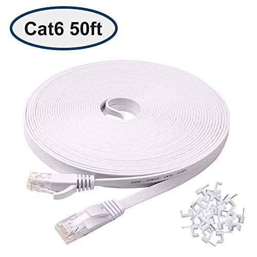 Cat 6 Ethernet Cable 50 ft, Flat Internet Cable with Rj45 Connectors, High speed Lan Wire with clips